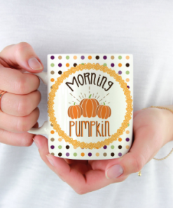 Morning Pumpkin Polka Dot Mug