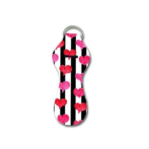 Valentine Hearts and Stripes Keychain Holder