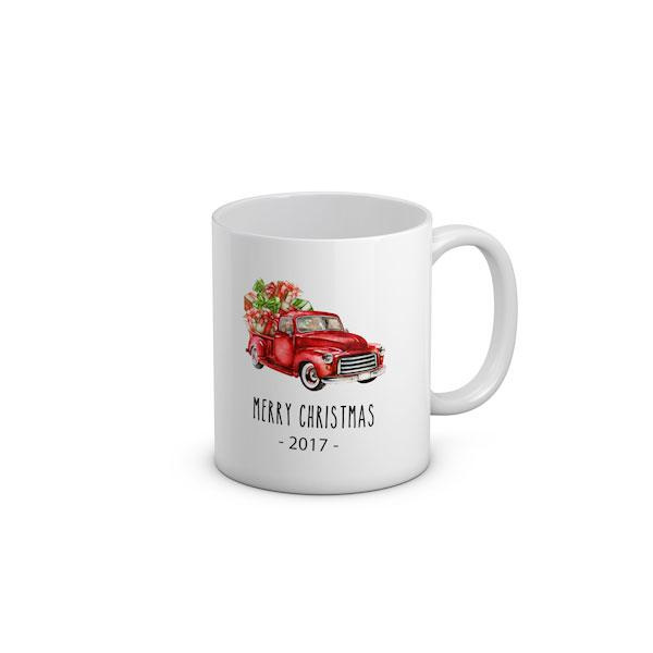 Vintage Red Truck With Year Christmas Mug 2