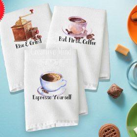 Coffee Trio Waffle Weave Towel 2