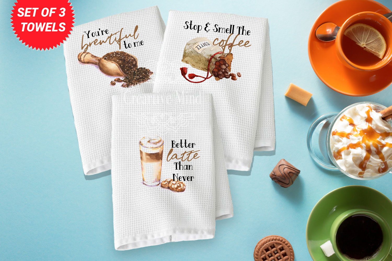 Coffee Trio Waffle Weave Towel