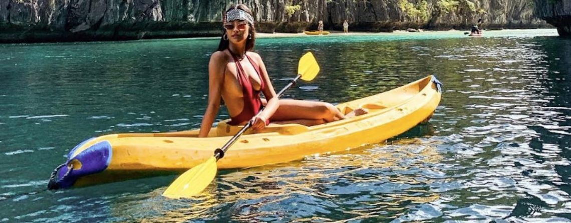 Shay Mitchell Can Paddle Away in Her Kayak, but We Won't Forget the Plunge on That Swimsuit