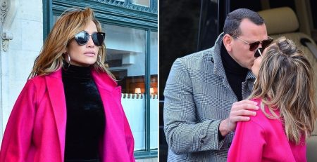 You Truly Can't Miss J Lo's Hot Pink Coat - Just Like You Can't Miss Her PDA With ARod