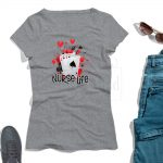 Nurse Life T shirt Mockup HeatherGray