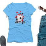 Nurse Life T shirt Mockup Light Blue