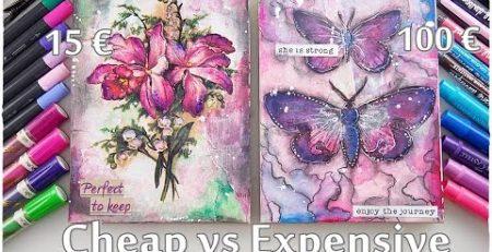 Cheap vs Expensive Art Supplies Journaling Mixed Media Tutorial ♡ Maremi's Small Art ♡