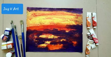 Abstract Art #040 : Beginners Tutorial / Demo   Acrylic painting Colors