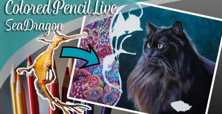 Drawing a Sea Dragon in Colored Pencil & art chat  - Lachri Live