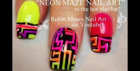 3 Nail Art Tutorials | DIY Neon Maze Nail Art design tutorial