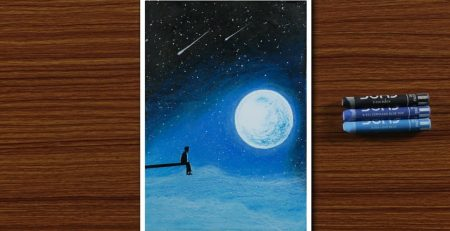 Easy Oil Pastel Drawing for Beginners - A Boy in Moonlight Night - STEP by STEP