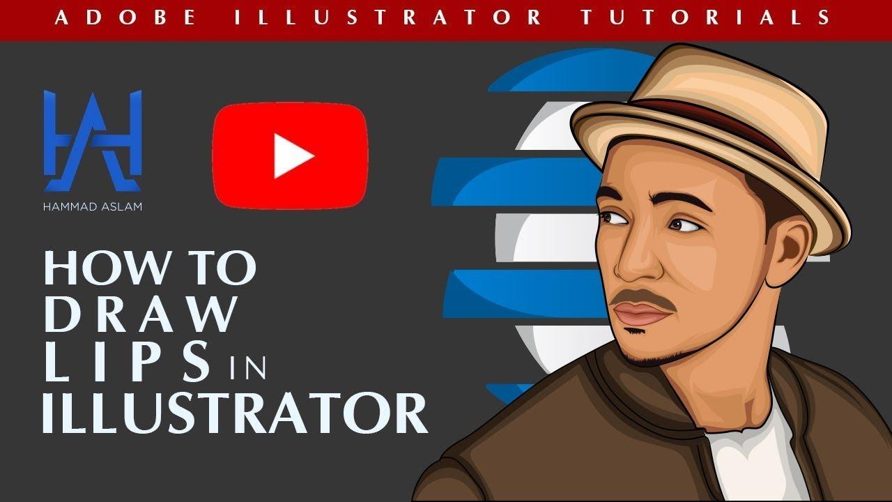 Vector Lips Tutorial - Vector Art - Adobe illustrator tutorials - Vector Portrait drawing