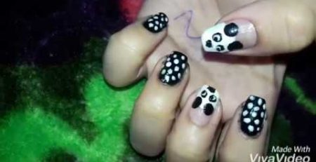 cute PANDA nail art tutorials || how to do nail art for beginners