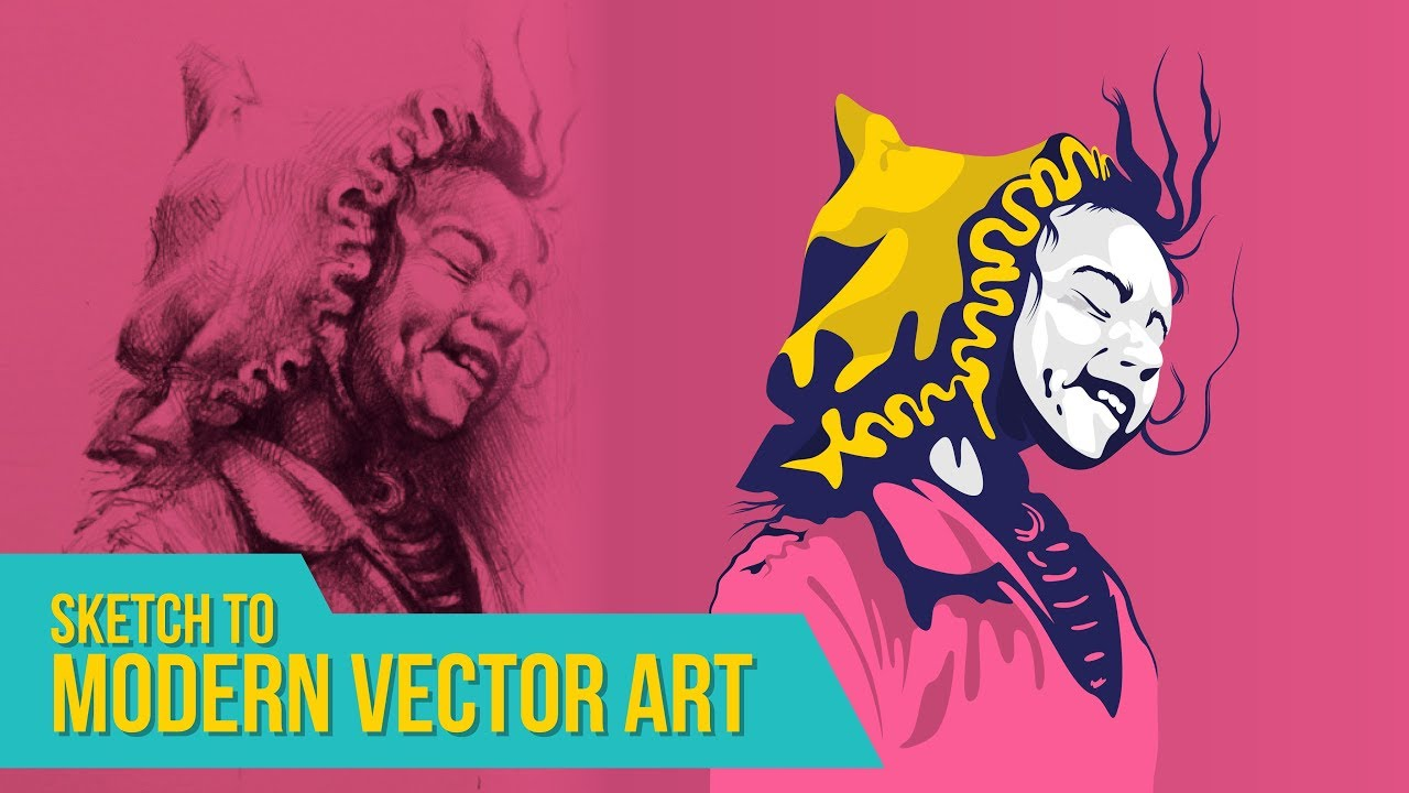 Illustrator Tutorials | Sketch to Modern Art Illustration