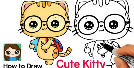 How to Draw Cute Back to School Art | Cutie Kitty #1