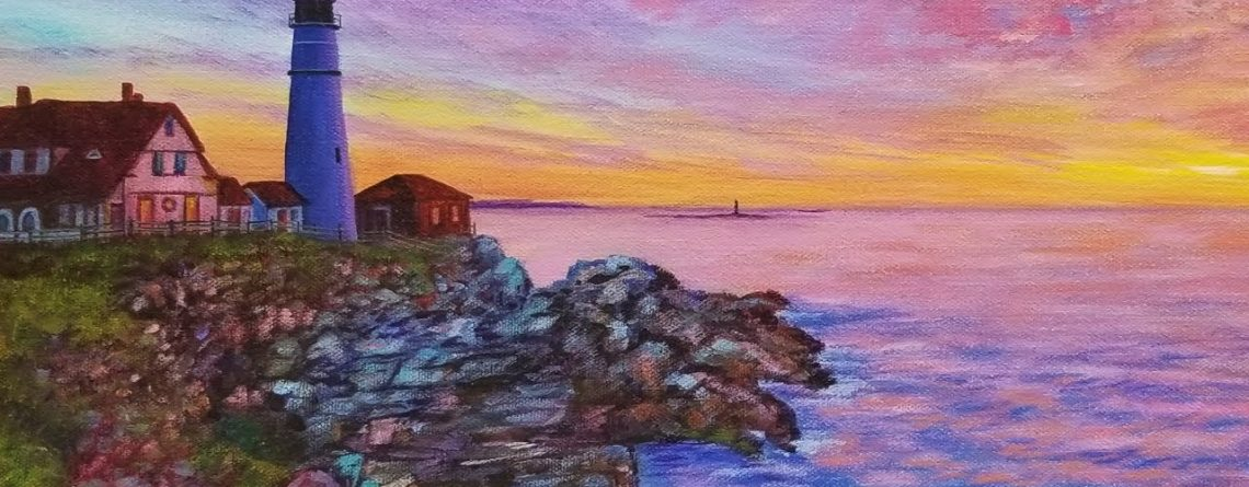 Sunrise Lighthouse Seascape Acrylic Painting LIVE Tutorial