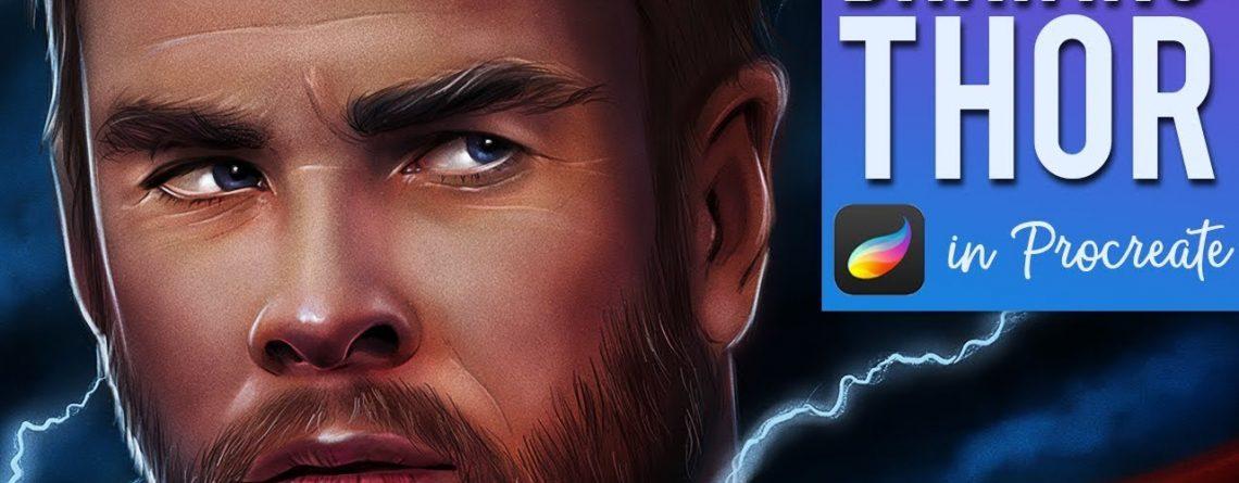AVENGERS ENDGAME ART | drawing Thor in Procreate on iPad Pro