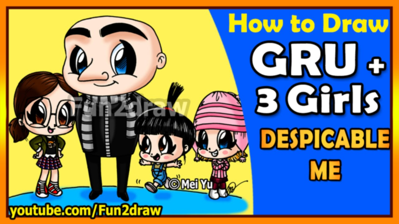 How to Draw Despicable Me - Gru, Agnes, Margo + Edith - Drawing Art for Kids Tutorials - Fun2draw