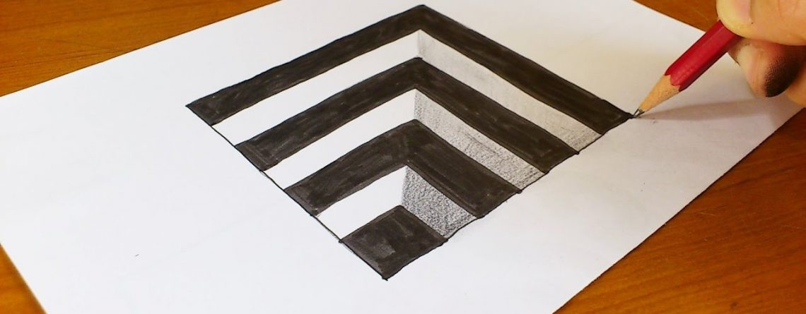 Very Easy!! How To Draw 3D Hole - Anamorphic Illusion - 3D Trick Art on paper