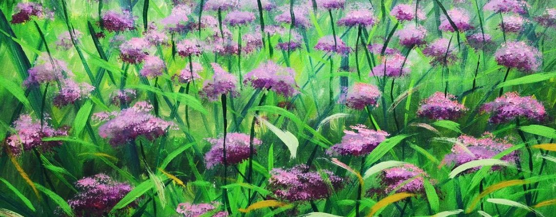 Garden Flowers Painting tutorials for beginners | Acrylic art techniques