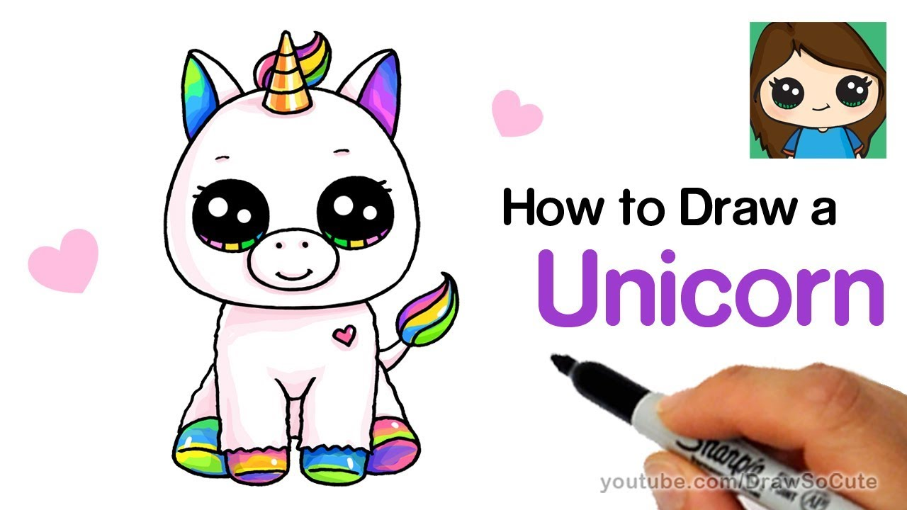 How to Draw a Baby Unicorn easy   Beanie Boos