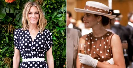 Julia Roberts Channels Her Inner Pretty Woman in Polka-Dot Pants and a Matching Peplum Top