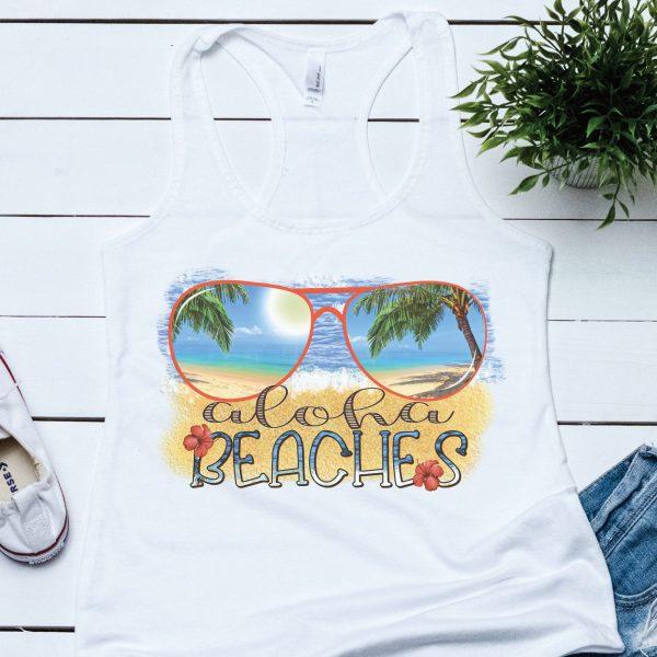 Aloha Beaches Tank Top Plush Prints Flatlay