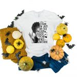 Assuming Im Just An Old Lady Split Winifred Black and White Tshirt Plush Prints
