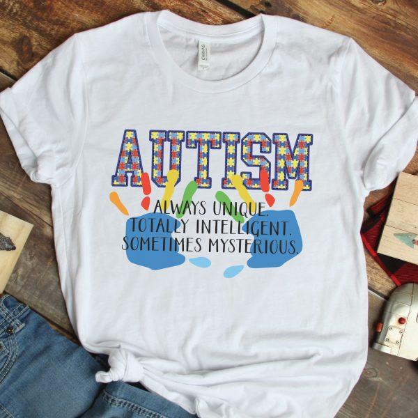 Autism Awareness Definition White Tshirt Plush Prints Flatlay 2
