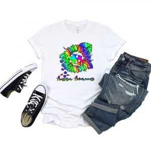 Autism Awareness Sunflower White Tshirt Plush Prints