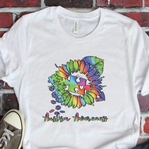 Autism Awareness Sunflower White Tshirt Plush Prints Flatlay
