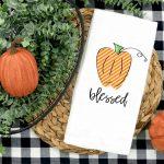 Blessed Pumpkin Kitchen Towel Plush Prints