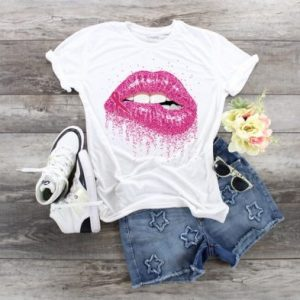 Breast Cancer Glitter Lips Flatlay