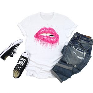 Breast Cancer Glitter Lips T Shirt