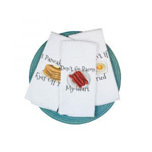Funny Breakfast Waffle Weave Towel Plush Prints2