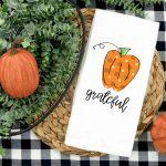 Grateful Pumpkin Kitchen Towel Plush Prints