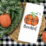 Thankful Pumpkin Kitchen Towel Plush Prints