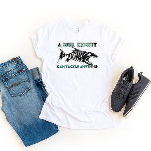 A Reel Expert White Tshirt Plush Prints