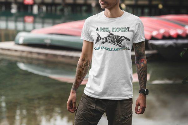 A Reel Expert White Tshirt Plush Prints Model