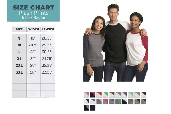 Plush Prints Raglan Size Chart Main