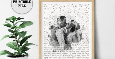 Custom Lyric Art Vows Personalized Gift 1 Year Anniversary gift