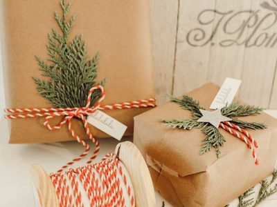 Natural Holiday Gift Wrap with Greenery – Hallstrom Home