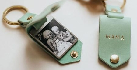 Personalised Photo Keyring in Leather Case Initials Handmade