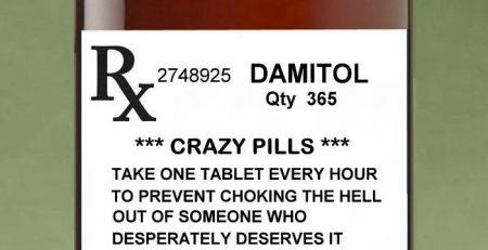 MAGNET Funny Humor Fridge Pill Bottle CRAZY PILLS Caution Run