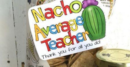 Teacher Staff Appreciation Day Gift Tag Nacho Average Teacher