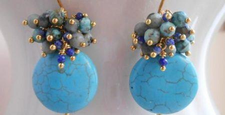 Tiffy teal blue gemstone coin cluster dangle drop earrings african