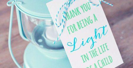Lantern Teacher Gift Idea Free Printable
