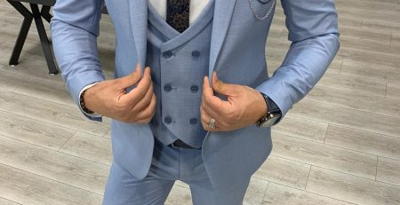 Men Suits 3 Piece Slim Fit Two Button Wedding Groom