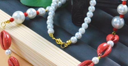 PandaHall Bracelet de coquille rouge
