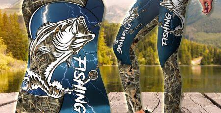 Bass Fishing blue tattoos Camo Combo Legging Tank