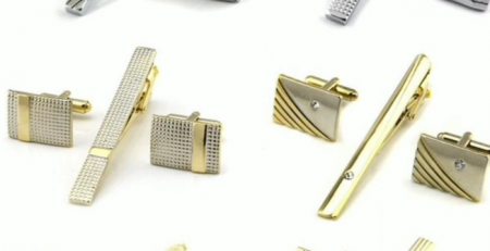 Gold Tie Clip and Cufflink Set For Men Classic Meter